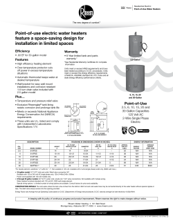 Point-of-use electric water heaters feature a space-saving design for Efficiency