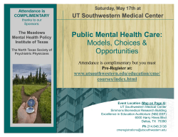 Public Mental Health Care: Models, Choices & Opportunities UT Southwestern Medical Center