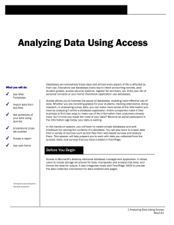 Analyzing Data Using Access