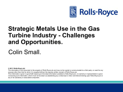 Strategic Metals Use in the Gas Turbine Industry - Challenges and Opportunities.