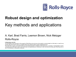 Key methods and applications  Robust design and optimization