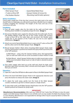 CleanSpa Hand Held Bidet - Installation Instructions Parts Included: