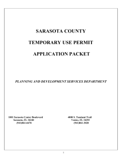 SARASOTA COUNTY  TEMPORARY USE PERMIT APPLICATION PACKET