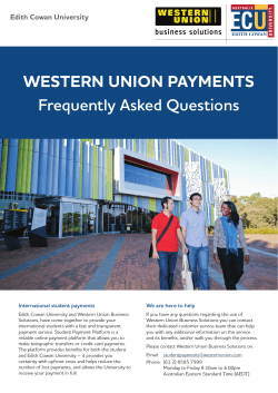 WEstErn Union PaymEnts Frequently Asked Questions Edith Cowan University International student payments