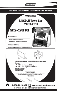 95-5810 LINCOLN Town Car 2003-2011 APPLICATIONS