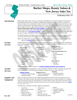 Barber Shops, Beauty Salons & New Jersey Sales Tax Publication ANJ–19