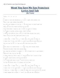 Wont You Save Me San Francisco Lyrics And Tab (By Train)