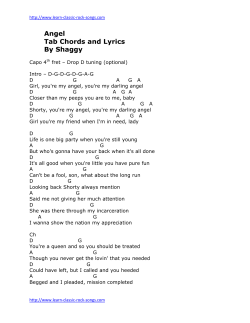 Angel Tab Chords and Lyrics By Shaggy