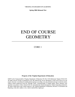 END OF COURSE GEOMETRY CORE 1 VIRGINIA STANDARDS OF LEARNING