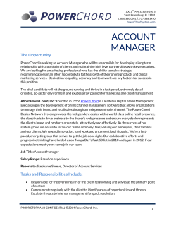 ACCOUNT MANAGER The Opportunity