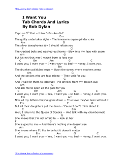I Want You Tab Chords And Lyrics By Bob Dylan