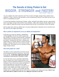 BIGGER, STRONGER and FASTER! The Secrets of Using Protein to Get