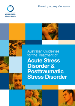 Acute Stress Disorder & Posttraumatic Stress Disorder