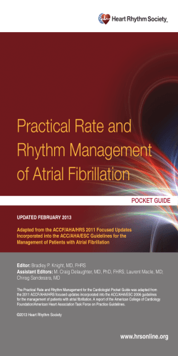 Practical Rate and Rhythm Management of Atrial Fibrillation pocket guide