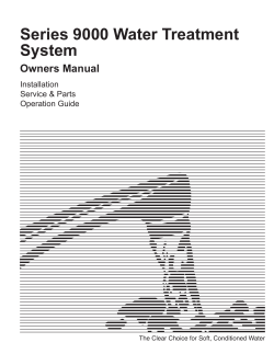 Series 9000 Water Treatment System Owners Manual Installation