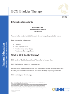 BCG Bladder Therapy UHN Information for patients