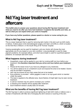 Nd:Yag laser treatment and aftercare