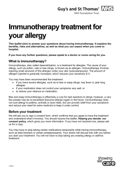 Immunotherapy treatment for your allergy