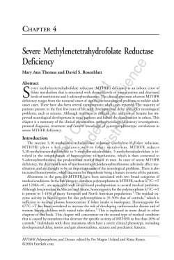 S Severe Methylenetetrahydrofolate Reductase Deficiency C