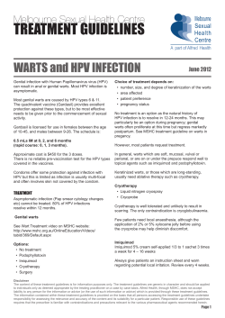 TREATMENT GUIDELINES WARTS and HPV INFECTION Melbourne Sexual Health Centre Melbourne
