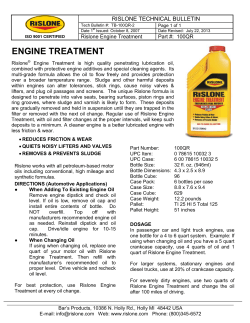 RISLONE TECHNICAL BULLETIN Rislone Engine Treatment Part #:  100QR