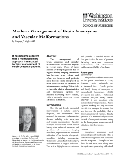 Modern Management of Brain Aneurysms and Vascular Malformations