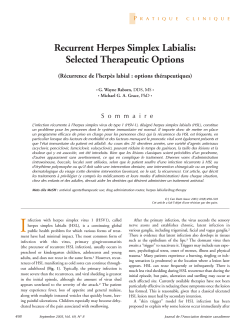 Recurrent Herpes Simplex Labialis: Selected Therapeutic Options P
