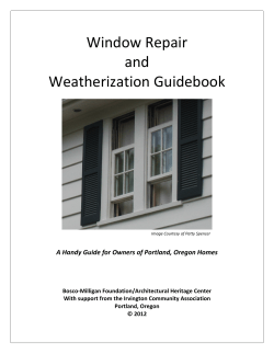 Window Repair   and   Weatherization Guidebook  A Handy Guide for Owners of Portland, Oregon Homes