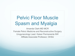 Pelvic Floor Muscle Spasm and Myalgia
