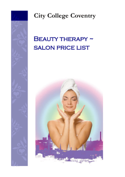 City College Coventry Beauty therapy ~ salon price list