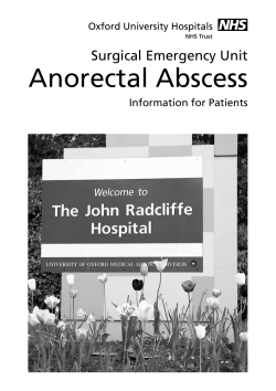Anorectal Abscess Surgical Emergency Unit Information for Patients Oxford University Hospitals