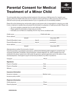 Parental Consent for Medical Treatment of a Minor Child