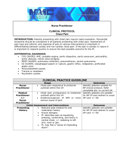 Nurse Practitioner CLINICAL PROTOCOL Chest Pain