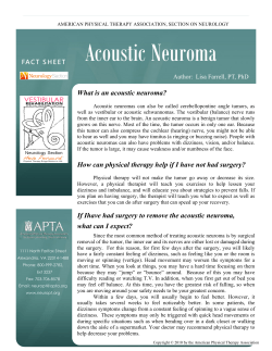 Acoustic Neuroma What is an acoustic neuroma?