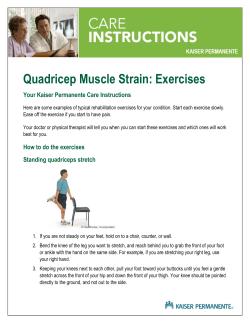 Quadricep Muscle Strain: Exercises Your Kaiser Permanente Care Instructions
