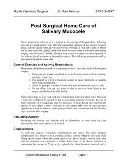 Post Surgical Home Care of Salivary Mucocele