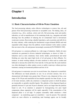 Chapter 1 Introduction 1.1 Basic Characterization of Oil-in-Water Emulsion