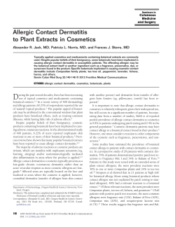 Allergic Contact Dermatitis to Plant Extracts in Cosmetics