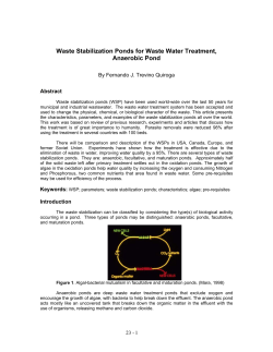 Waste Stabilization Ponds for Waste Water Treatment, Anaerobic Pond Abstract
