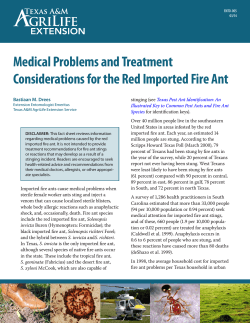 Medical Problems and Treatment Considerations for the Red Imported Fire Ant