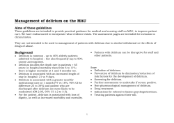 Management of delirium on the MAU  Aims of these guidelines