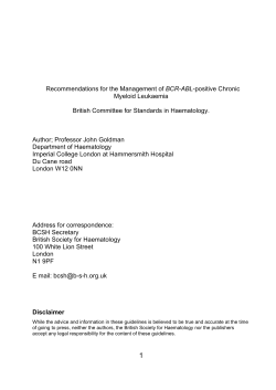 BCR-ABL Myeloid Leukaemia British Committee for Standards in Haematology.