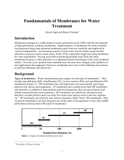 Fundamentals of Membranes for Water Treatment Introduction