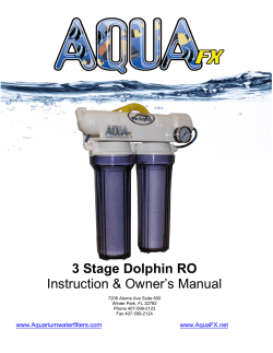 3 Stage Dolphin RO Owner's Manual Instruction &