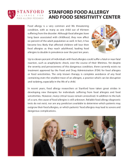 STANFORD FOOD ALLERGY AND FOOD SENSITIVITY CENTER