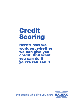 Credit Scoring Here's how we work out whether
