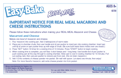 IMPORTANT NOTICE FOR REAL MEAL MACARONI AND CHEESE INSTRUCTIONS AGES 8+