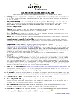 10k Race Week and Race Day Tips