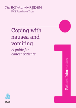 Coping with nausea and vomiting A guide for