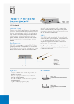 Indoor 11n WiFi Signal Booster (500mW) WBO-2500 H/W Version: 1